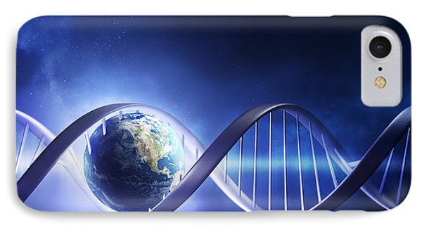 Planets iPhone 7 Case - Glowing Earth Dna Strand by Johan Swanepoel