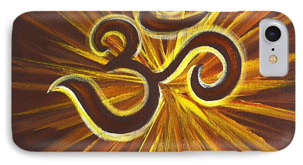 IPhone Case featuring the painting Glowing Om Symbol by Agata Lindquist