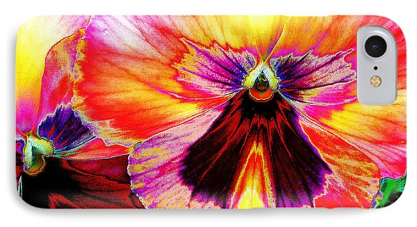 IPhone Case featuring the digital art Glowing Pansey by Suzanne Silvir