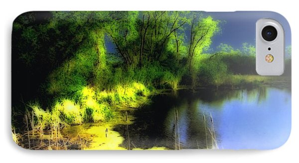 Glowing Pond On A Foggy Night Phone Case by Ann Almquist