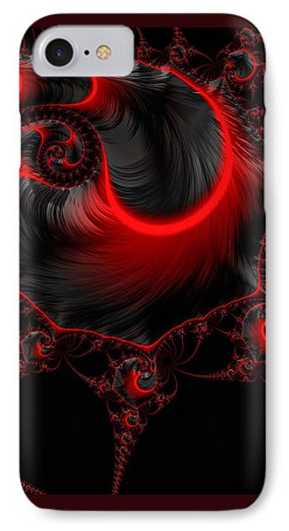 Glowing Red And Black Abstract Fractal Art IPhone Case by Matthias Hauser