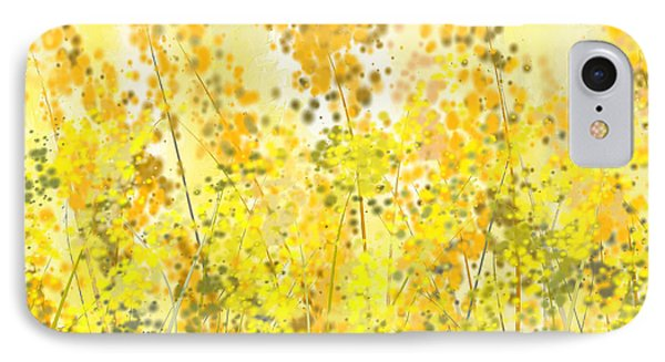 Glowing Spring- Yellow Abstract Art IPhone Case by Lourry Legarde