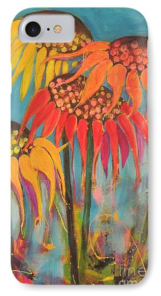 IPhone Case featuring the painting Glowing Sunflowers by Lyn Olsen