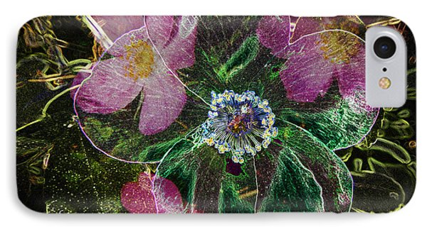 Glowing Wild Rose IPhone Case by Penny Lisowski