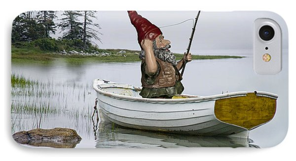 Gnome Fisherman In A White Maine Boat On A Foggy Morning IPhone Case by Randall Nyhof