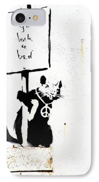 Go Back To Bed Protester Phone Case by A Rey