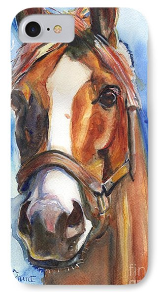Horse Painting Of California Chrome Go Chrome IPhone Case by Maria's Watercolor