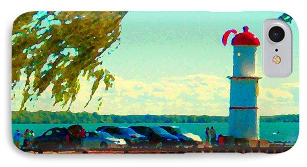 Go Fly A Kite Off A Short Pier Lachine Lighthouse Summer Scene Carole Spandau Montreal Art  Phone Case by Carole Spandau