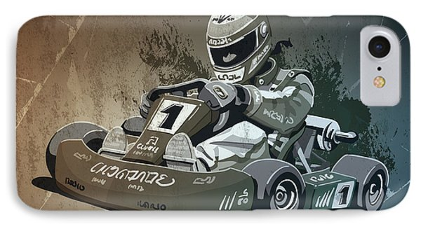 Go-kart Racing Grunge Monochrome IPhone Case by Frank Ramspott