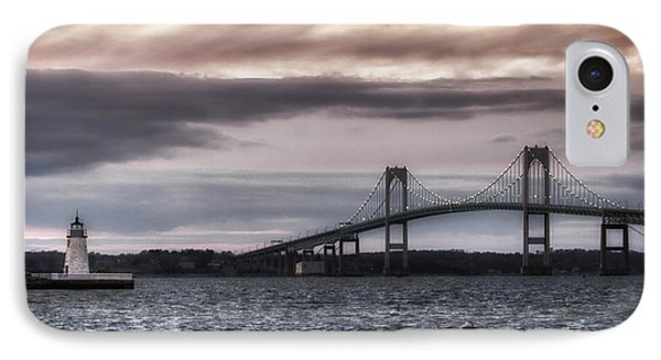 Goat Island Lighthouse And Newport Bridge IPhone Case by Joan Carroll