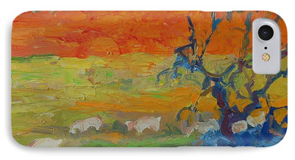 IPhone Case featuring the painting Goats With Orange Hill And Blue Tree by Thomas Bertram POOLE