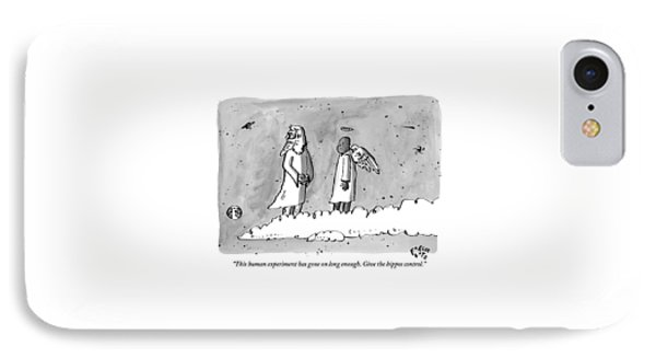 God Is Seen Standing On A Cloud Talking To An IPhone Case by Farley Katz