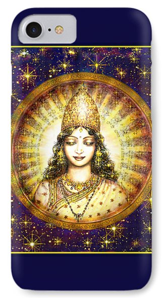 IPhone Case featuring the mixed media Goddess Of Stars by Ananda Vdovic