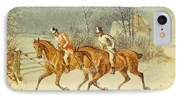 Going Out In A Snowstorm IPhone Case by Henry Thomas Alken