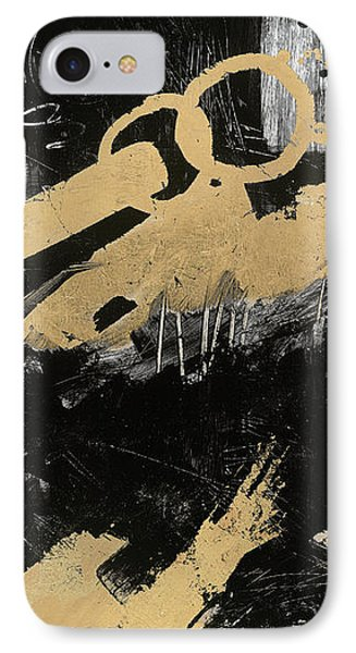 Gold And Blackabstract Panel I IPhone Case