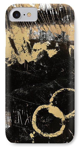 Gold And Blackabstract Panel II IPhone Case
