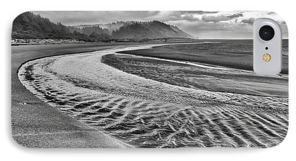 Gold Bluffs Beach Is Located In The Prairie Creek Redwoods State In Black And White. IPhone Case by Jamie Pham
