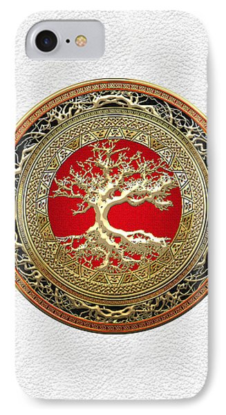 Gold Celtic Tree Of Life On White Leather  IPhone Case