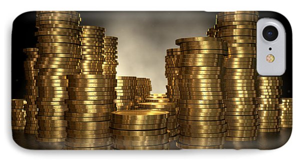 Gold Coin Stacks IPhone Case by Allan Swart