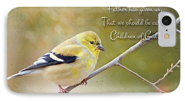 Gold Finch On Twig With Verse Phone Case by Debbie Portwood
