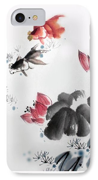 Gold Fish In Lotus Pond IPhone Case by Yufeng Wang