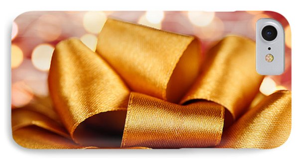 Gold Gift Bow With Festive Lights IPhone Case by Elena Elisseeva