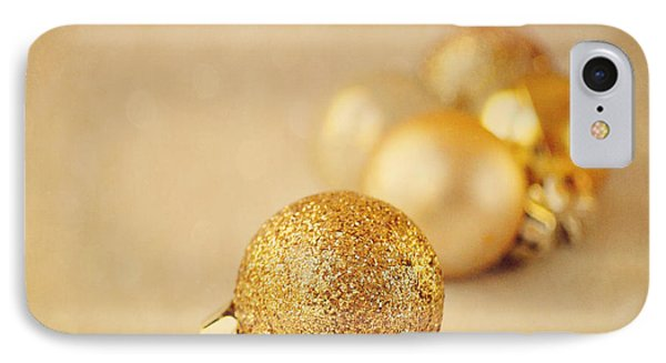 Gold Glittery Christmas Baubles IPhone Case by Lyn Randle