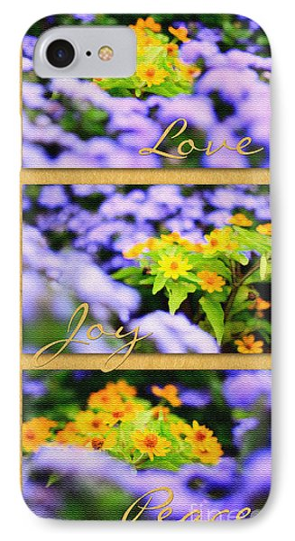 Gold Medallion Flowers With Love Joy Peace IPhone Case by Beverly Claire Kaiya