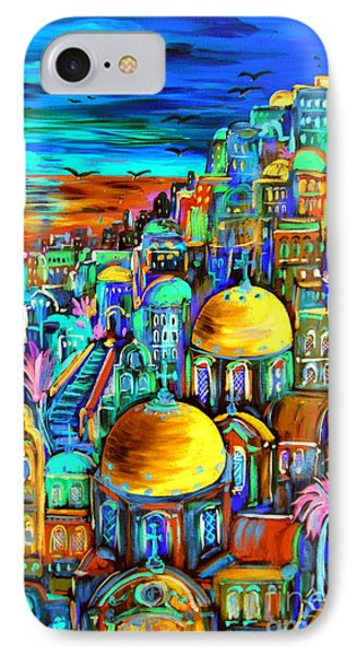 Gold On Santorini Churches IPhone Case
