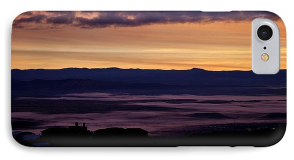 IPhone Case featuring the photograph Gold Sky Purple Fog Sunrise by Ron Chilston