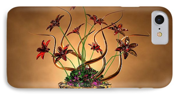 Gold Spirals Glass Flowers Phone Case by Louis Ferreira