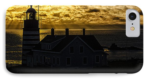 Golden Backlit West Quoddy Head Lighthouse Phone Case by Marty Saccone