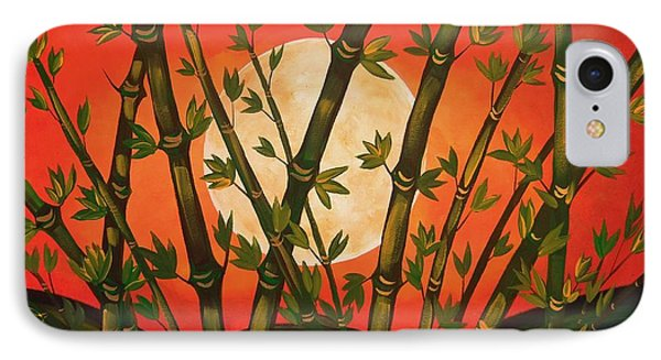 IPhone Case featuring the painting Golden Bamboo Moon by Cindy Micklos