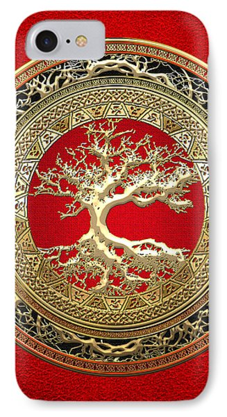 Golden Celtic Tree Of Life  IPhone Case by Serge Averbukh