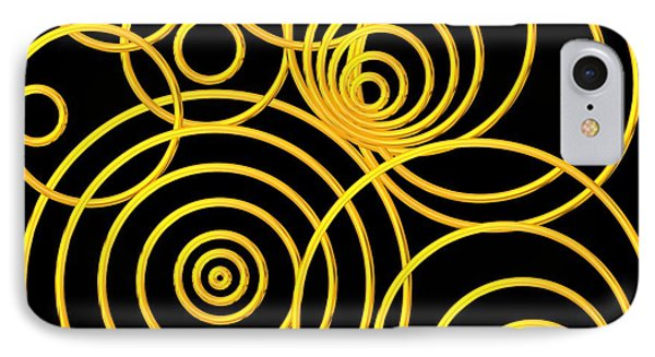 Golden Circles Optical Illusion Phone Case by Rose Santuci-Sofranko