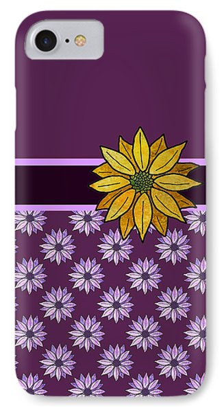 Golden Daisy On Plum IPhone Case by Jenny Armitage
