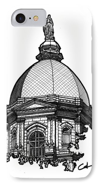 IPhone Case featuring the drawing Golden Dome by Calvin Durham