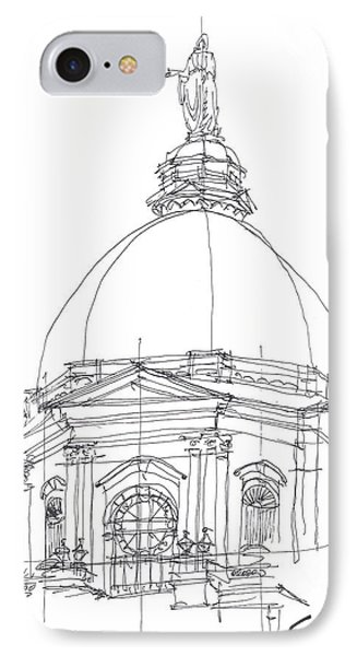 IPhone Case featuring the drawing Golden Dome Sketch by Calvin Durham