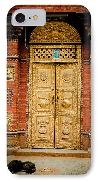 Golden Door In Kathamndu IPhone Case by Raimond Klavins