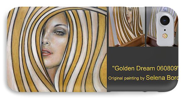 IPhone Case featuring the painting Golden Dream 060809 Comp by Selena Boron