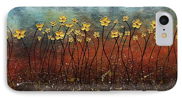 Golden Flowers IPhone Case by Carmen Guedez