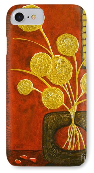 Golden Flowers IPhone Case by Elena  Constantinescu