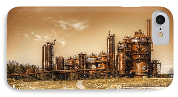 Golden Gas Works Phone Case by Spencer McDonald