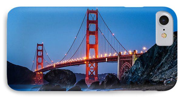 Golden Gate At Twilight IPhone Case by Linda Villers