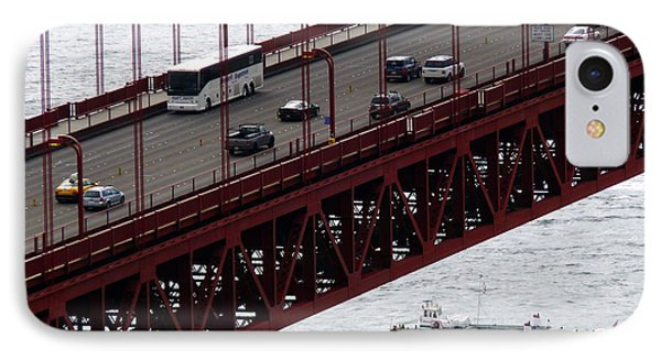 Golden Gate Bridge Aerial Tour Boat IPhone Case by Jeff Lowe