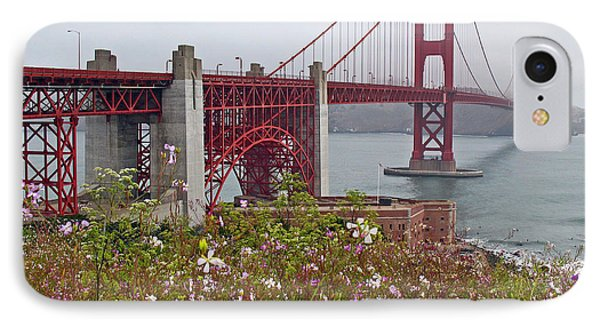 Golden Gate Bridge And Summer Flowers Phone Case by Connie Fox