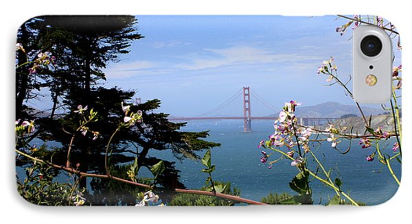 Golden Gate Bridge And Wildflowers Phone Case by Carol Groenen