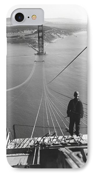 Golden Gate Bridge Cables IPhone Case by Underwood Archives