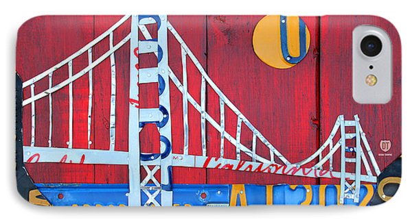 Golden Gate Bridge California Recycled Vintage License Plate Art On Red Distressed Barn Wood IPhone Case by Design Turnpike