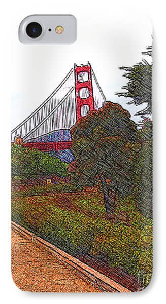 Golden Gate Bridge Crosshatch IPhone Case